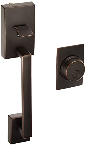 - Schlage F92-CEN Century Dummy Exterior Handleset from the F-Series, Aged Bronze