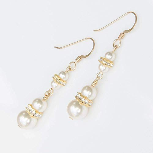 Two Tier 14K Gold-Filled Earrings with Ivory-Colored Swarovski Simulated Pearls