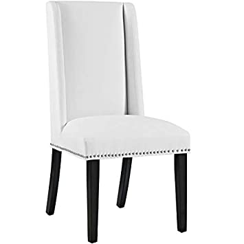 Modway Baron Modern Tall Back Wood Faux Leather Upholstered Parsons Four Kitchen and Dining Room Chairs with Nailhead Trim in White