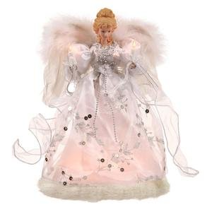 Vickerman 12'' White & Silver Lighted Angel Tree Topper