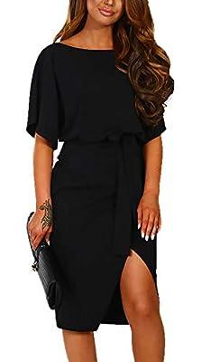 BTFBM Women Casual Short Sleeve Split Elegant Pencil Dress with Belt