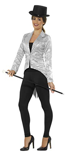 Smiffys Women's Sequin Tailcoat Jacket, Ladies, Silver, Large -