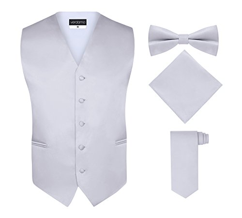 Men's Tuxedo Vest, Tie & Pocket Square Set - Silver, M, By (Vest And Bow Tie)