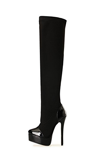 del piel genuina moda invierno alto NVXIE la arranque de Sobre Elasticidad Nueva Zapatos largo de Otoño tacón 2 Negro Exfoliante EUR rodilla Mujeres Fiesta muslo de Impermeable EUR43UK9 40 estilete d primavera wBwq1nEZ