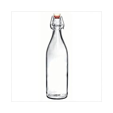 6 Bottle Pack Bormioli Rocco 1L /34 Ounce Swing Top Round Glass Bottle