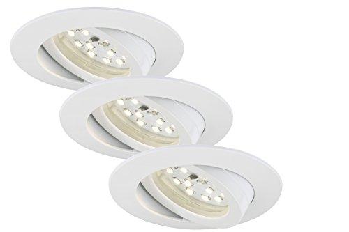 Briloner Leuchten LED Einbauleuchte, Einbaustrahler, LED Strahler, Spots, Deckenstrahler, Deckenspot, Lampen Wohnzimmer, LED Einbaustrahler 230v, Deckeneinbauleuchten, Einbaustrahler Set, schwenkbar, rund
