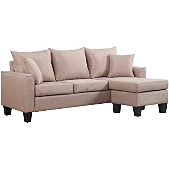 Divano Roma Furniture Modern Linen Fabric Small Space Sectional Sofa  Reversible Chaise (Apricot)