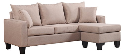 Modern Linen Fabric Small Space Sectional Sofa with Reversible Chaise (Apricot) (Sectional Sofas Small)