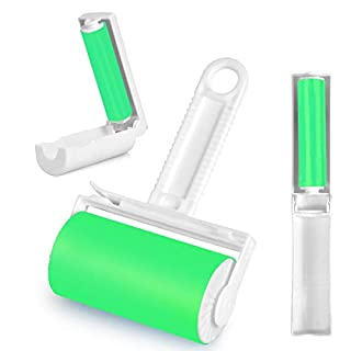 Lint Roller, Resuable & Washable Lint Roller, Pet Hair Remover Lint Roller Cleaner for Clothes, Bed, Sofa, Carpet, Car Seats, Large/Small Size with Cover(3 Pack) (Green)