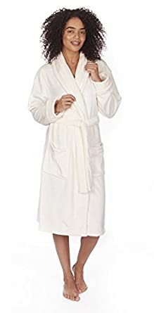 9fa2939b697 Ladies Plain Winter Snuggle Shawl Collar Dressing Gown Robe. Small - 4XL  (Small