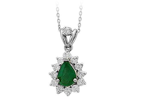 Birgie Diamants et Bijoux - Pendentif Emeraude Ovale et Diamants-Femme- or Blanc 201P0021