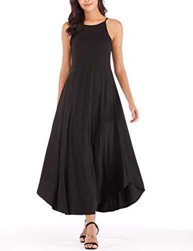 - Womens Summer Stripe Sleeveless Casual Loose Maxi Beach Long Tank Dresses Black M