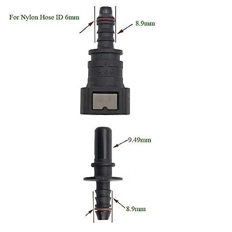 "Amazon.com: Xucus 180 Deg SAE 9.49mm Fuel Line Quick Release Connector Nylon Hose ID 6mm(1/4""): Industrial & Scientific"