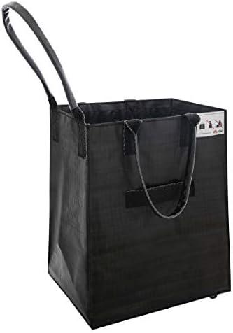 Folds Flat Small, Matt Black Carries Up To 66 lb HULKEN - Shopping Trolley Lightweight Grocery Bag On Wheels 3 Built-In Handles