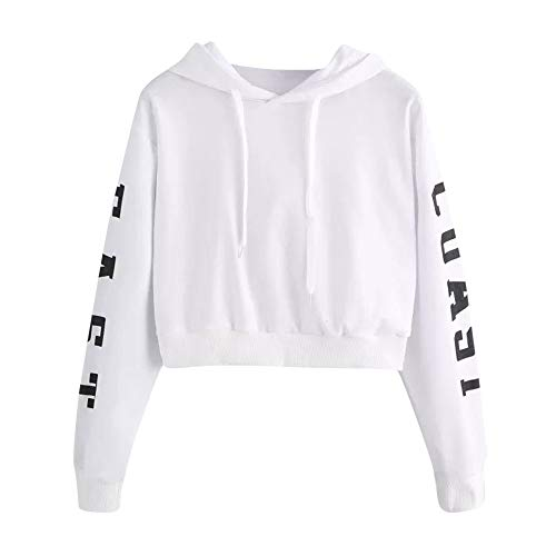 AIMEE7 Femme Sweat  Capuche Lettres  Manches Longues Hoodie Chemisiers Blouse Tops Blanc