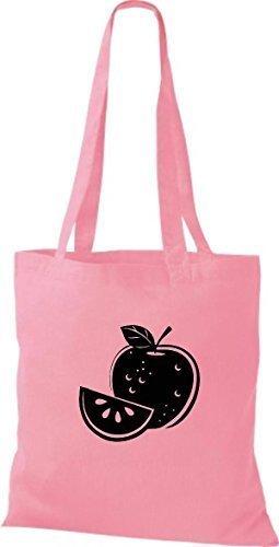 ShirtInStyle Bolso de tela Bolsa de algodón Tu Favorita frutas y hortalizas manzana - Fucsia, 38 cm x 42 cm Rosa