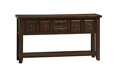 "Hillsdale Furniture 4793888W Tuscan Retreat 67"" Wide Hall Table with 6 Drawers 1 Bottom Shelf Nail Hole Patches and Solid Pine Timber Construction in Rustic"