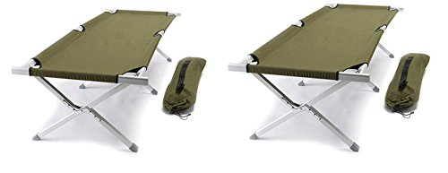 TWO PACK World Outdoor Products Military Style AIRCRAFT GRADE Aluminum Frame Cot with OD GREEN Washable and Mildew Resistant 600 D Polyester Fabric, Matching Carry Bag and TWO EMERGENCY WHISTLES! by World Outdoor Products (Image #6)