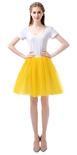 Feoya Tutu en Tulle Femme Ballet Jupe Courte Jupon Tutu Skirt Danse Spectacle Taille unique lastique 60-95 CM Jaune