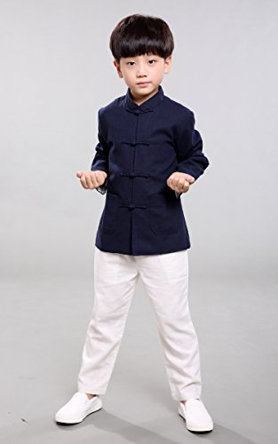 Avec Bleu Acvip Chemise Veste Garçon Vêtement Manche Tang Longue Kung Chinois De Marine Enfant Blouse fu PpnPr4g