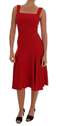 Dolce & Gabbana Red Shift Below Knee Gown Stretch Dress