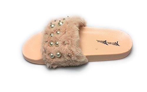 Kvinnor Fuzzy Flatform Toffel - Tillfällig Bad Utomhus - Furry Ranka Sandal- Pärla På Päls Rosa
