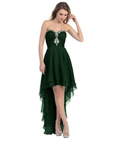 Hinten Elegant Abendkleider Ballkleider Vorne Lang Partykleider LuckyShe Kurz Dunkelgrün Seidenchiffon 0qASUU
