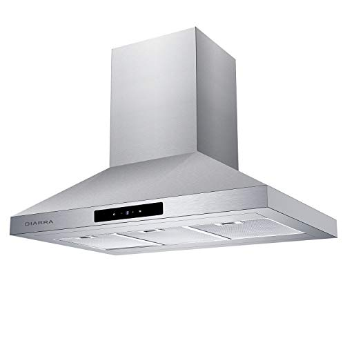 CIARRA 36-in Island-Mount Range Hood Stainless Steel Ducted/Ductless Convertible Duct Chimney Kitchen Stove Hood Vent with Aluminum Filters 450CFM/LED Lighting