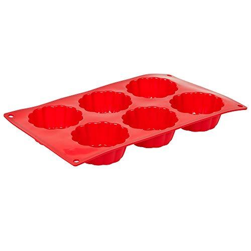 6-Cavity Brioche Silicone Baking Mold, BPA Free, Non-Stick Baking Molds/Cake Pans by Tezzorio