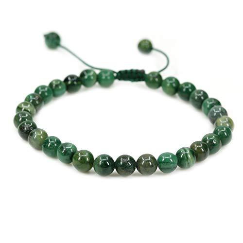 Natural African Serpentine Gemstone 6mm Round Beads Adjustable Braided Macrame Tassels Chakra Reiki Bracelets 7-9 inch Unisex (Bracelet Yellow Serpentine)
