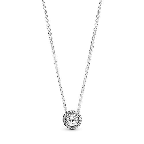 Pandora Jewelry - Round Sparkle Halo Necklace in Sterling Silver with Clear Cubic Zirconia, 17.7 IN / 45 CM