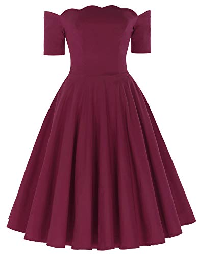 (PAUL JONES Women's Vintage Dress Off Shoulder Cocktail Dress Size L Burgundy)