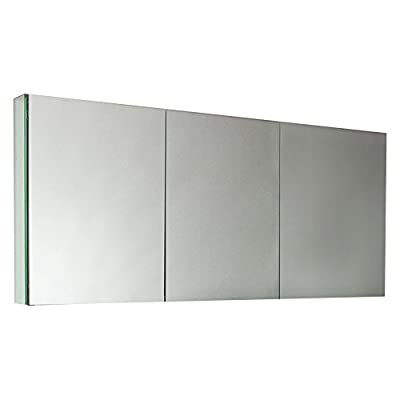 Fresca 60 in. Mirrored Medicine Cabinet - Dimensions: 59W x 5D x 26H in. Hidden metal framework with glass panels 3 mirrored doors - shelves-cabinets, bathroom-fixtures-hardware, bathroom - 318WHfTI8rL. SS400  -