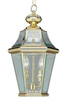 Livex Lighting 2265-02 Georgetown 2-Light Outdoor Hanging Lantern, Polished - Outdoor Brass Polished Hanging