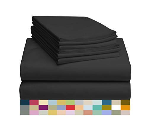 LuxClub-6-PC-Sheet-Set-Bamboo-Sheets-Deep-Pockets-18-Eco-Friendly-Wrinkle-Free-Sheets-Hypoallergenic-Anti-Bacteria-Machine-Washable-Hotel-Bedding-Silky-Soft-Black-Full