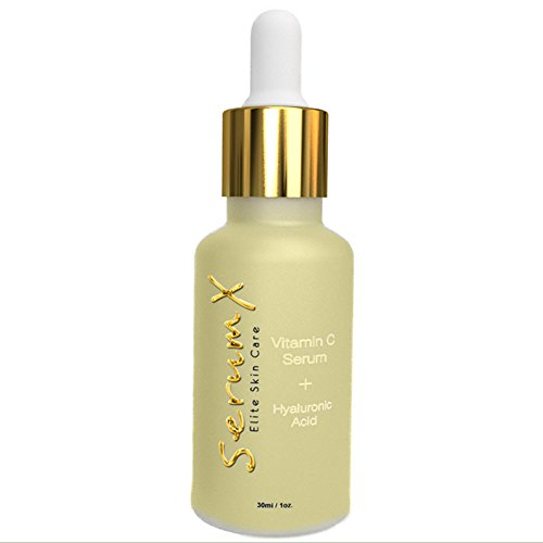 SerumX - Vitamin C Serum (20%) With Hyaluronic Acid - Vitamin E – L-Arginine - Anti Aging Skin Care Facial and Decollete Serum - 1 Ounce - Smooths Out Wrinkles - Fades Aging Spots - Brightens Skin