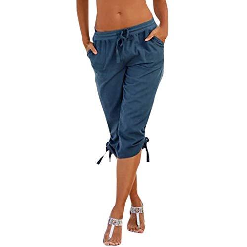 CCatyam Pants for Women Men, Yoga Trouser Shorts Pockets Solid Elastic Waist Bottoms Sexy Fashion Blue]()