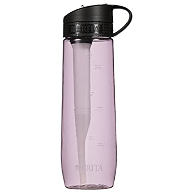 Brita 23.7 Ounce Hard Sided Water Bottle with 1 Filter, BPA Free, Pink (Designs May Vary)