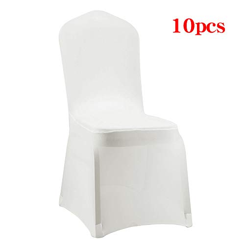 Desirable Life 1/10/20/50/100pcs Universal Spandex Stretch Banquet Wedding Party Dining Chair Covers (Cream/Flat Front, 10) ()
