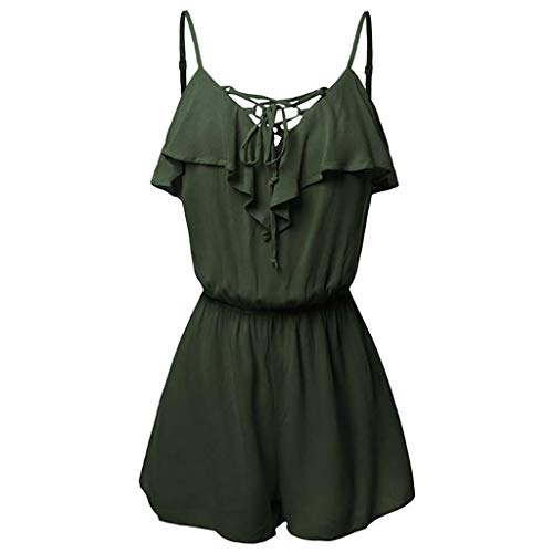 0b66f353541be Plus Size Womens Sleeveless Jumpsuit Rompers V-Neck Ruffle Overlap Front  Frill Detail Playsuit Daily