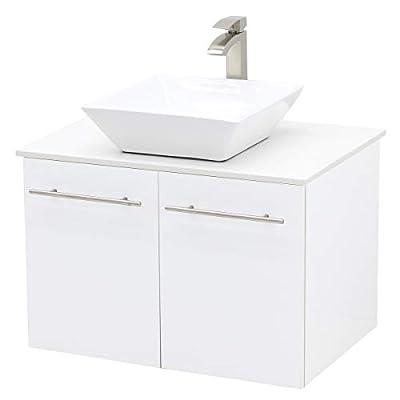 WindBay Wall Mount Floating Bathroom Vanity Sink Set, White Embossed Texture Vanity, White Flat Stone Countertop Ceramic Sink