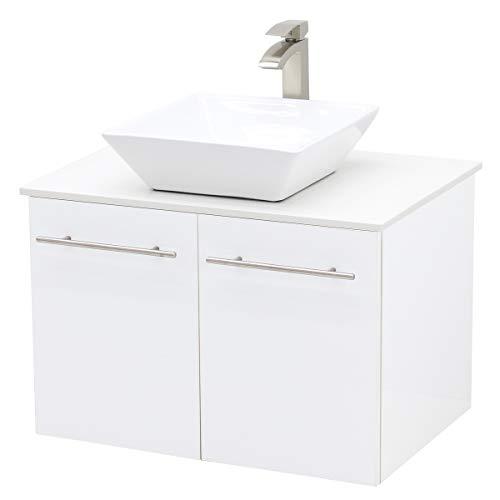 """WindBay Wall Mount Floating Bathroom Vanity Sink Set, White Embossed Texture Vanity, White Flat Stone Countertop Ceramic Sink - 30"""""""