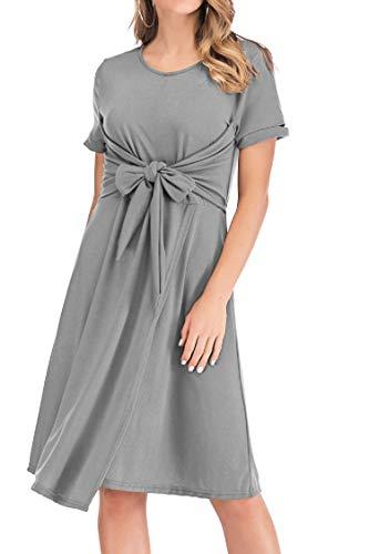M.Trendy Casual Women's Summer Dress, Front Tie Short Sleeve Crew Neck A-line Comfy T-Shirt Dress Grey, S