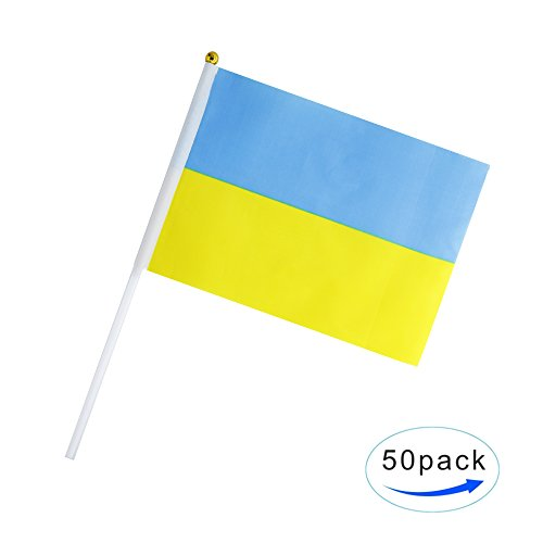 50 Pack Hand Held Small Mini Flag Ukraine Flag Ukrainians Flag Stick Flag Round Top National Country Flags,Party Decorations Supplies For Parades,World Cup,Sports Events,International Festival