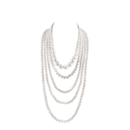GRACE JUN Multilayer Strand Chain White Faux Pearls Flapper Beads Cluster Long Choker -