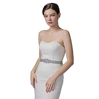 ULAPAN Women's Crystals Diamonds Wedding Belts Sash Pearls Bridal Belt Sashes for Wedding Dress,AU-S161B (Antique Pink)