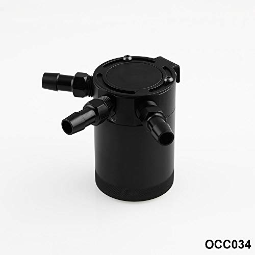 Sporacingrts Compact Black Baffled 3-Port Oil Catch Can 2 Inlets 1 Outlet Black by Sporacingrts (Image #5)