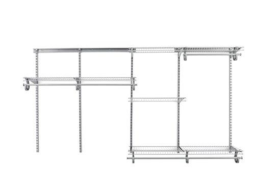 ClosetMaid 78809 ShelfTrack 5ft. to 8ft. Adjustable Closet Organizer Kit, Satin Chrome