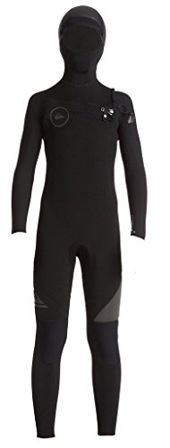 Quiksilver Boys 5/4/3mm Syncro Chest Zip Hooded Full Wetsuit, Black, Medium/12