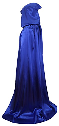 Blue Hooded Cape Costume (VGLOOK Unisex Hooded Halloween Cloak Costumes Party Cape(Blue))
